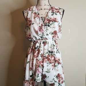 Floral Romper with attached overskirt